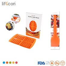 Liflicon Silicone Waffle Mold 4 Cavities Maker Baking Spatula Non-stick Butter Cooking Set Tools