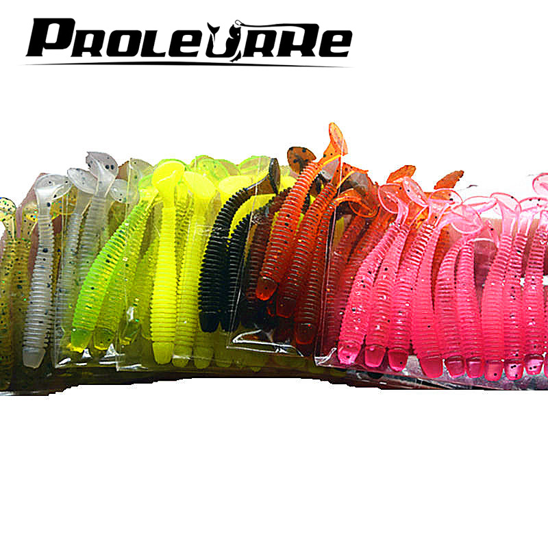 Proleurre 10pcs Fishing Rubber Worm Soft Lure 5cm 0.7g Easy Shiner Jig Wobblers Artificial Silicone Bait Carp Swimbait Tackle