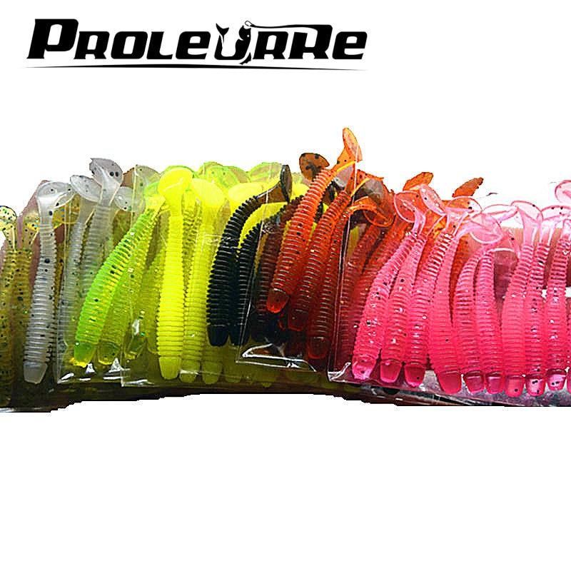 Proleurre 10pcs Fishing Rubber Worm Soft Lure 5cm 0.7g Easy Shiner Jig Wobblers Artificial Silicone Bait Carp Swimbait Tackle