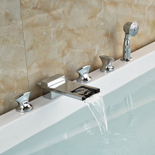 Luxury Brass Waterfall Bathtub Mixer Taps Deck Mount with Brass Handheld Shower Chrome Finish