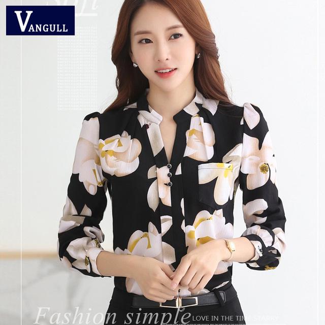 New 2017 Spring Summer Fashion V-Neck Chiffon Blouses Slim Women Chiffon Blouse Office Work Wear shirts Tops Plus Size Blusas