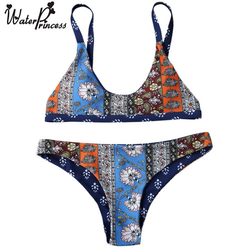 Water Princess Bikini Set 2017 Patchwork Print Floral