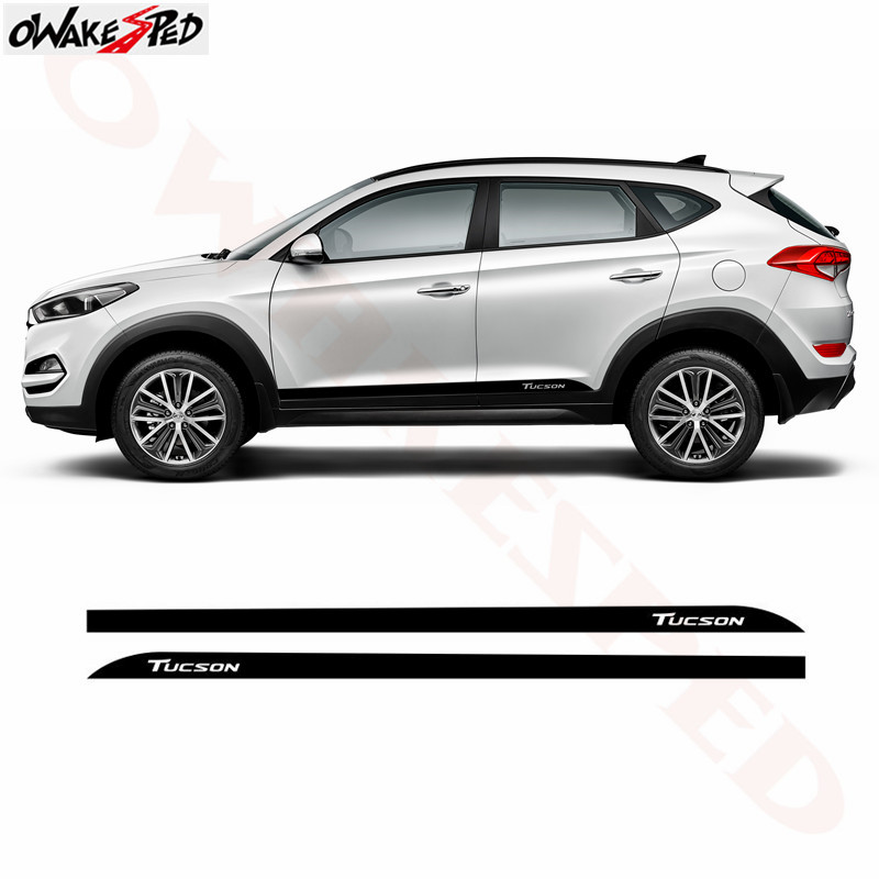 Car Side Skirt Sticker Carbon Fiber Stripes Vinyl Decals For Hyundai Tucson 2015-2018 Auto Body External Accessories Sticker