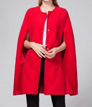 2017 Winter Autumn Fashion Street Style Single Breasted Red Cloak Cape Batwing Sleeve Coat Solid Casual Cloke(China)