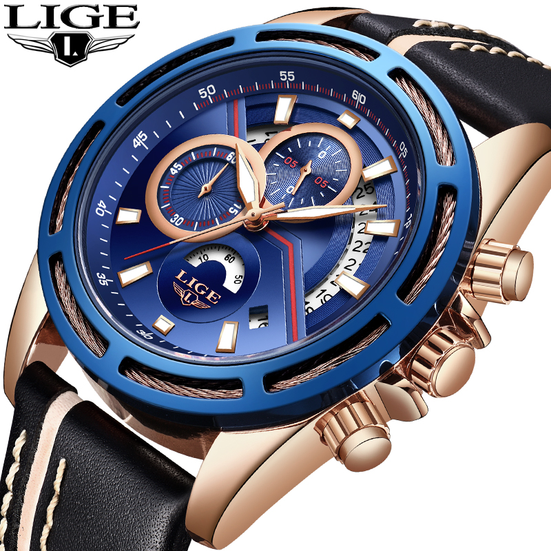 LIGE Fashion Mens Watches Top Luxury Brand Waterproof Leather Sports Watch Mens Leisure Time Quartz Clock Relogio Masculino+Box ibso outdoor leisure sports watches for men genuine leather band quartz mens watches 2018 fashion waterproof relogio masculino