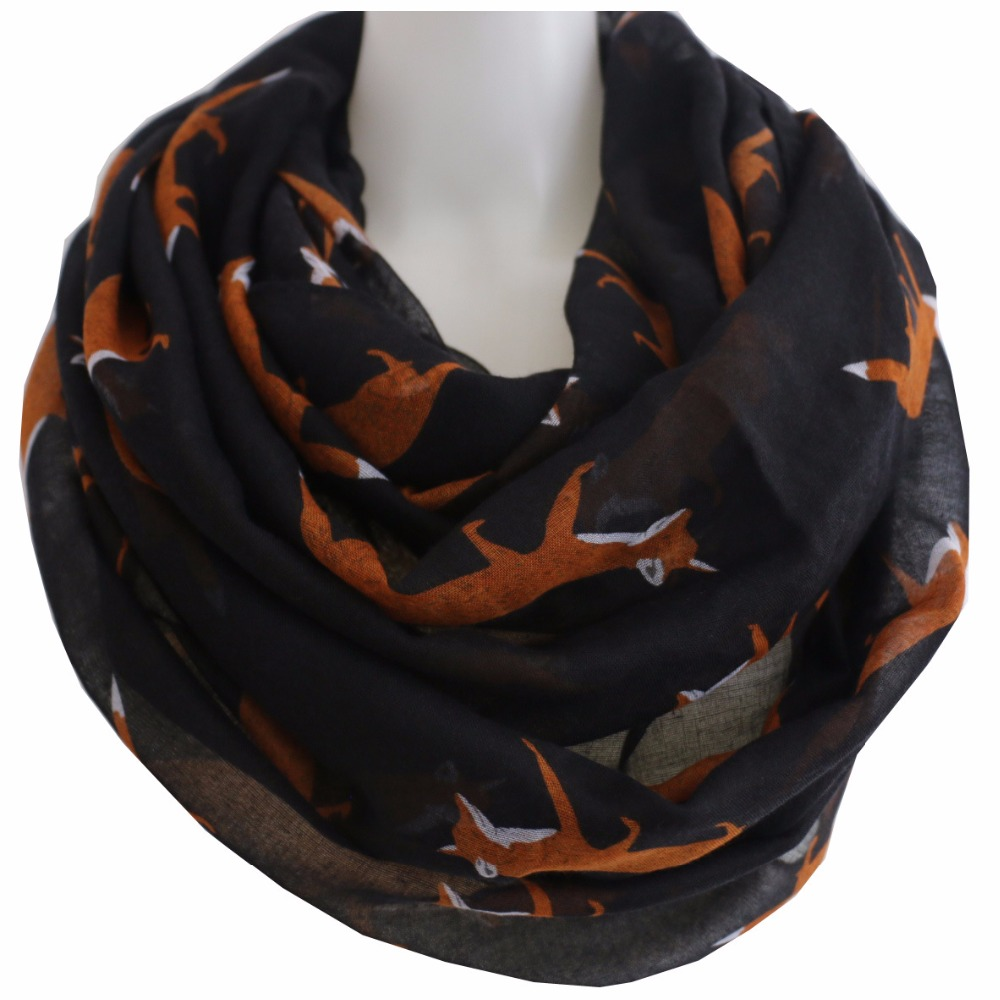 Winfox kawaii Fox Printed Loop   Scarf   Female Women Ring Neck Snood Round Infinity   Scarves   Shawl   Wraps