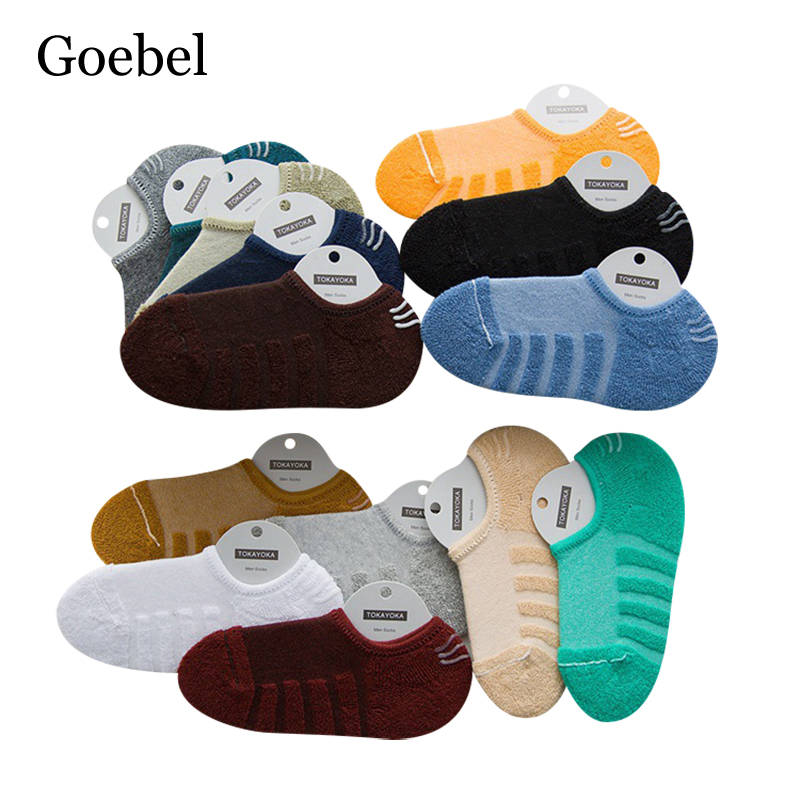 Goebel Summer Sweat Mens Funny Socks Casual Solid Color Socks For Male Fashion Towel Bottom Socks Ankle Man 5pairs/lot