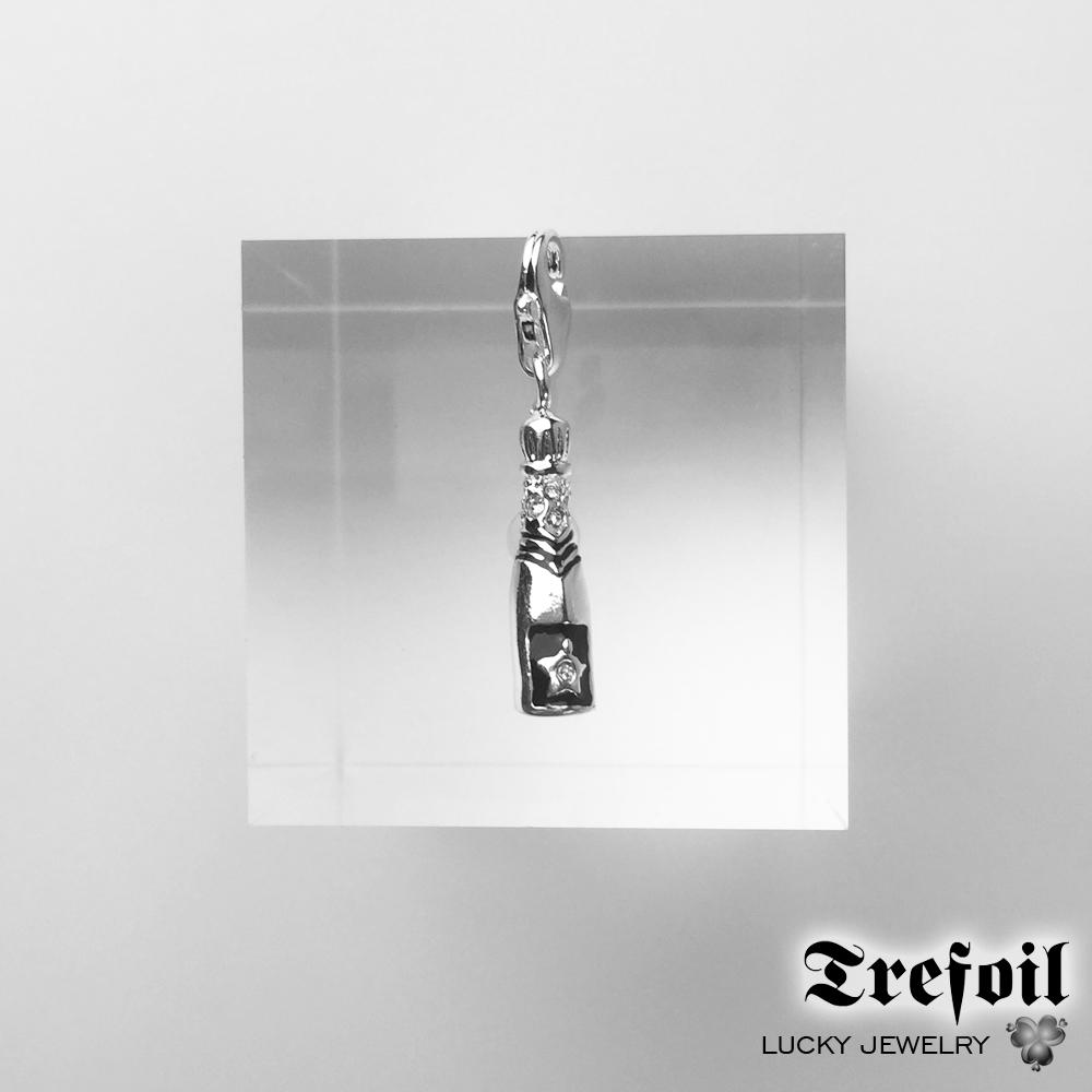 Bottle of Champagne Charm,Fashion Jewelry 925 Sterling Silver Trendy Gift For Women Men Boy Girls Fit Bracelet Necklace Bag 20