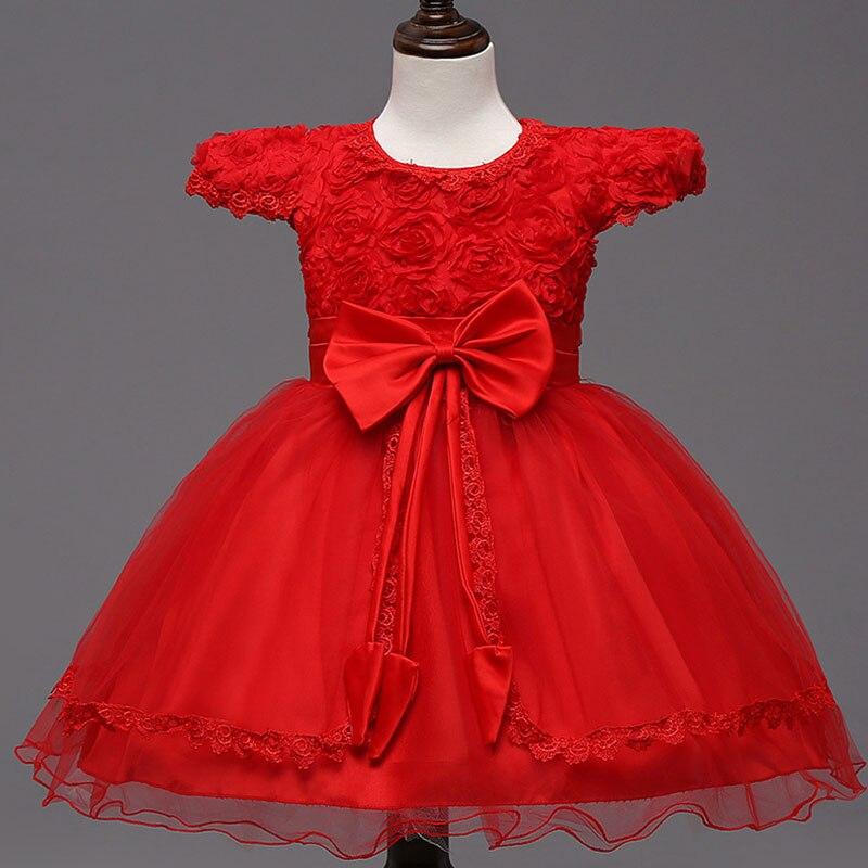 ФОТО White red wedding dresses for little girl pink flowers dresses girls dresses bridesmaid princess bow vestidos 4-9 years old1