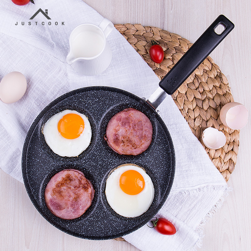 Justcook 24 CM Creative Non-stick Eggs Ham PanCake Maker Frying Pans No Oil-smoke Breakfast 4 in 1 Grill Pan Gas Cooker