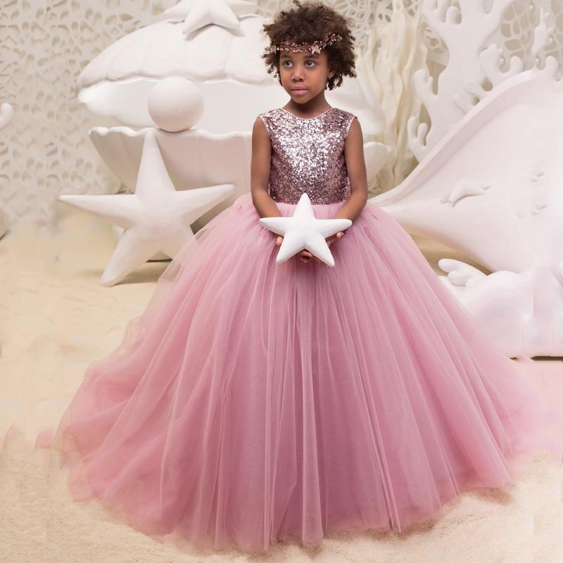 Nouveautés fleur filles perles sans manches Tulle v-back robes de bal chapelle Train filles première Communion princesse robe de mariée