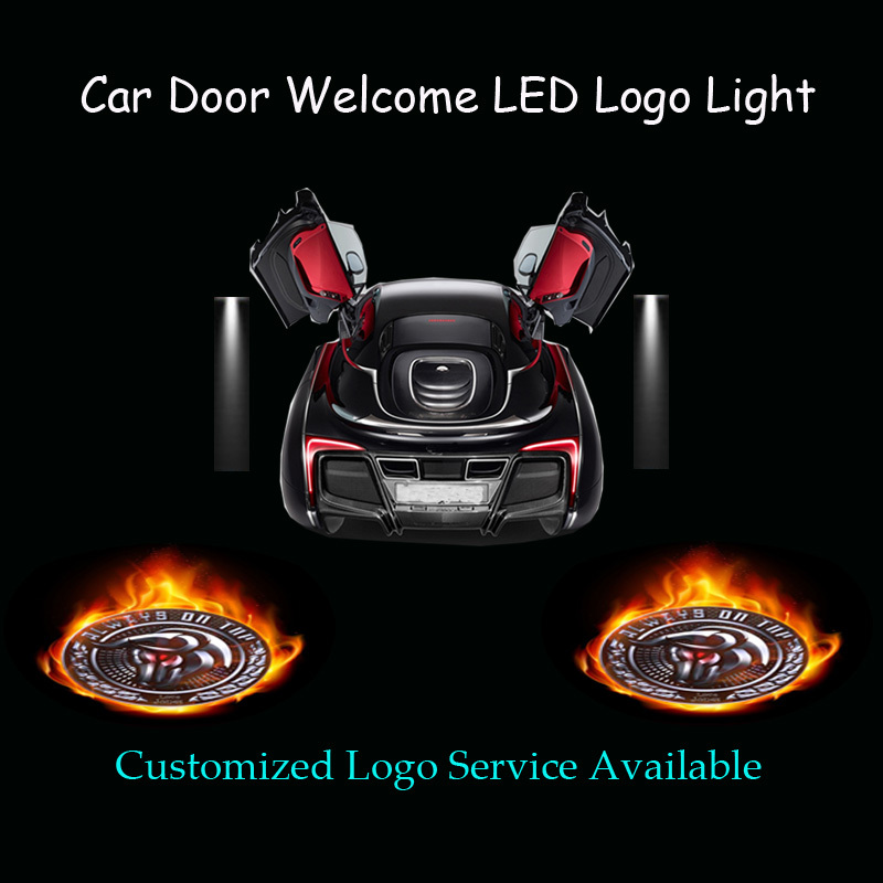 2pcs Customized Diablo Wheel Always On Top Logo Car Door Welcome Ghost Shadow Puddle Spotlight Laser Projector LED Light  (1110)