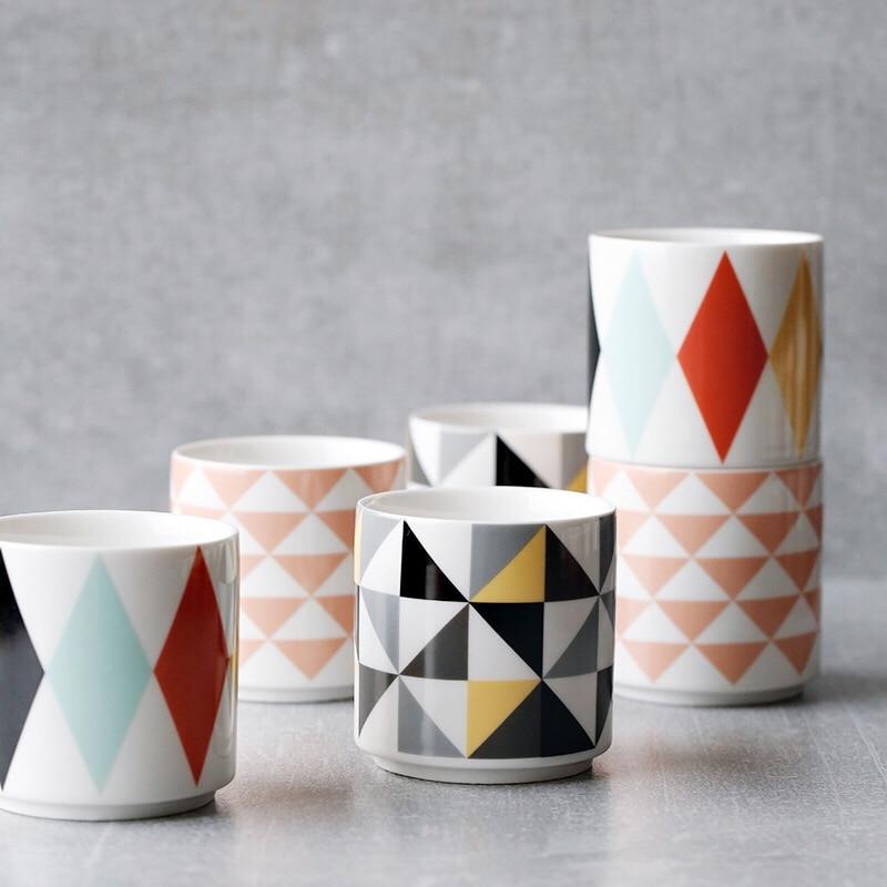 Brand High Quality Europe Style Colorful Triangle Pattern Ceramic Coffee Mugs Cups With Handgrip Porcelain Home Drinkware 200ml Coffee Mug Cup Mug Cupbrand Cup Aliexpress
