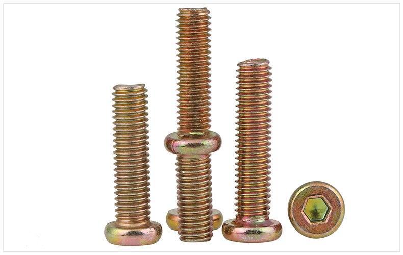 Flat head screws Carbon steel Color zinc furniture screws hex socket machine screws M6 screws