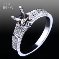 HELON 5.5 6.5mm Round Cut Semi Mount Solid 14K (585) Rose Gold Real Diamonds & Genuine Sapphires Engagement Fine Jewellery Ring