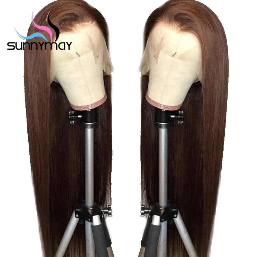 Sunnymayкоричневый цвет прямой парик с волосами младенца 150% предварительно сорвал человеческих волос парики длинные волосы Remy