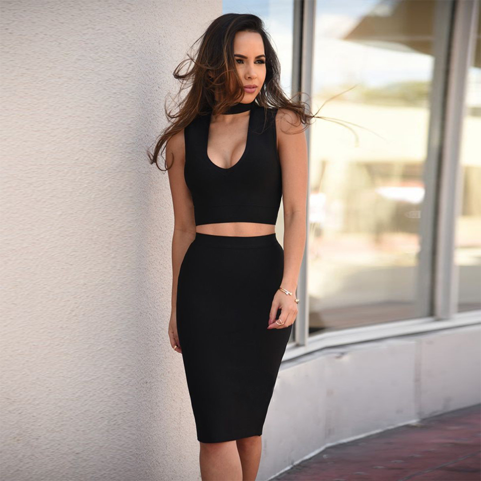 d94d1d904b 2017 Summer Bandage Dresses Women Black V-Neck 2 Two Pieces Hands-Free  Hands Out Celebrity Hot Girl Sexy Bodycon Dress