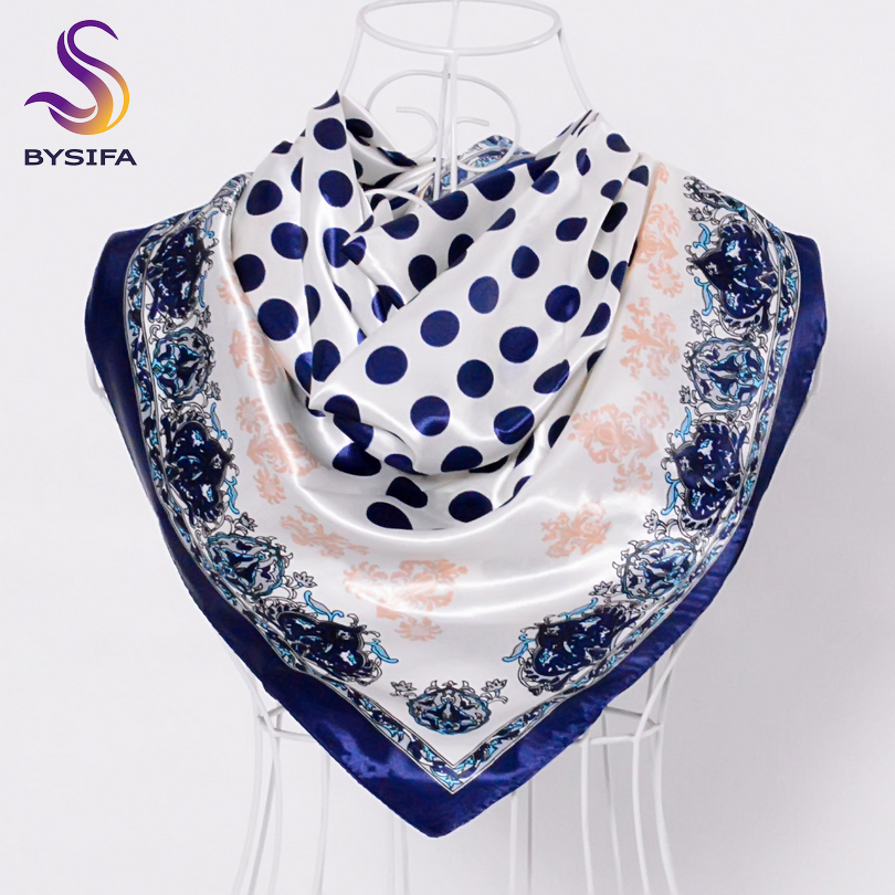 [BYSIFA] Navy Blue Dot Square   Scarves     Wraps   2016 Women Accessories 90*90CM Winter Large Silk   Scarf   Shawl New Ladies Head   scarves