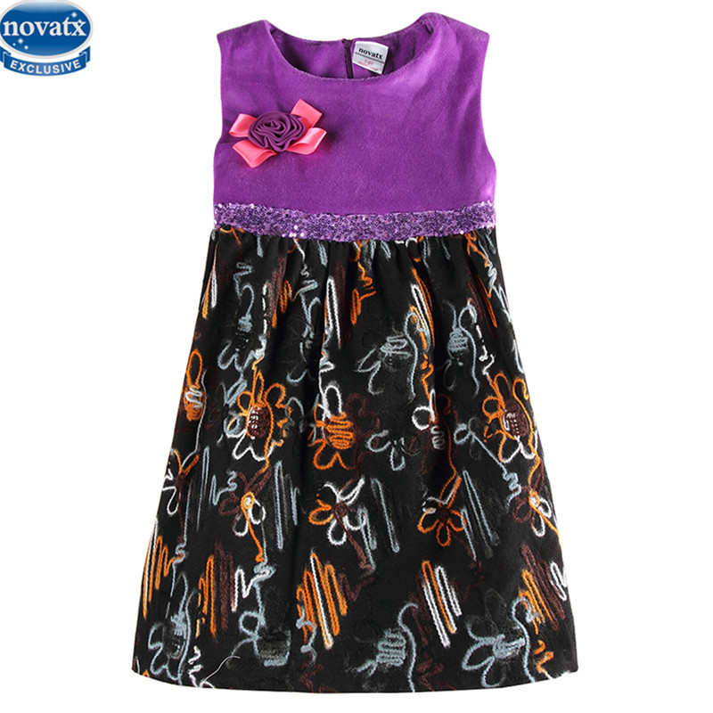 novatx H6659 reatil party girl dress nova new sleeveless floral dresses for girl children kids clothes baby girl clothing