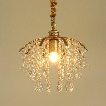Пасторальный стиль корейский кованого железа ветви кристалл подвесной светильник спальня столовая лампа