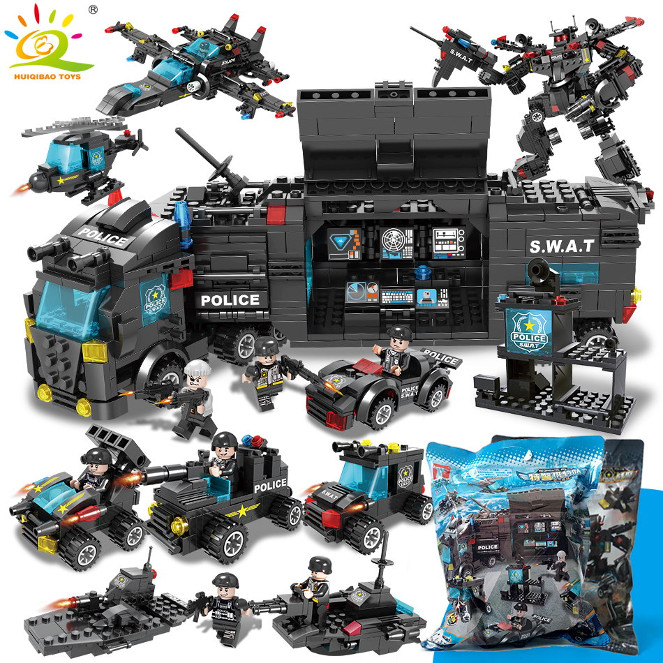 SWAT Police Station trucks Compatible legoingly Building Blocks Helicopter City Figures Car Bricks Educational Toys For Children