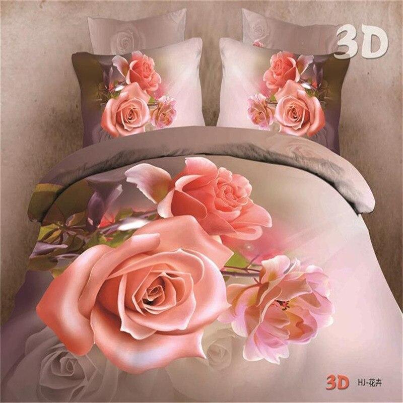 3D Rose Bed Linens Set Polyester/Cotton Bed Sheet Shams King Duvet Cover Set Bedclothes Bed and Bedding Set for Wedding Gift