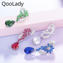 QooLady Fashion Designer Royal Blue Green Color CZ Austrian Crystal Prom Long Big Dangle Drop Earrings for Women Gifts E002