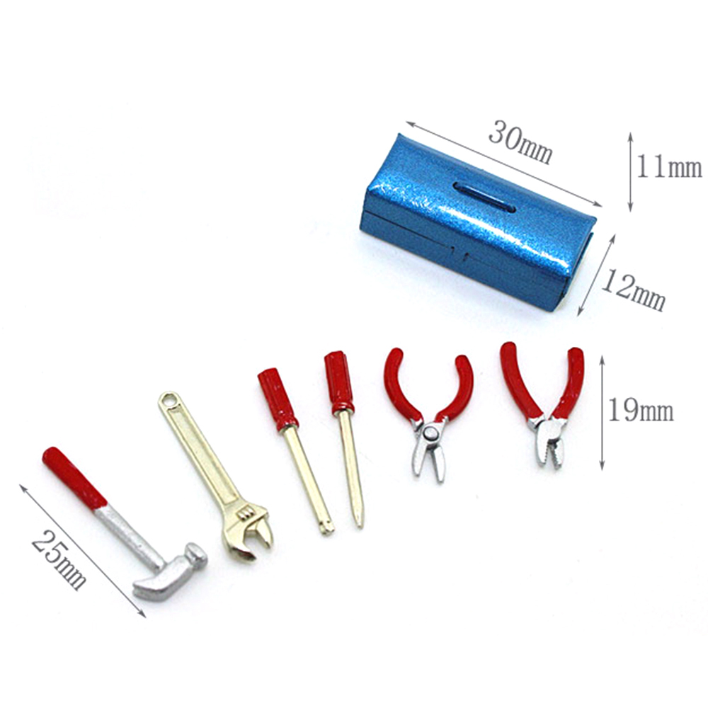 1/12 Dollhouse Miniature Accessories Mini Alloy Repair Tools Simulation Toolbox Model Toys For Doll House Decoration