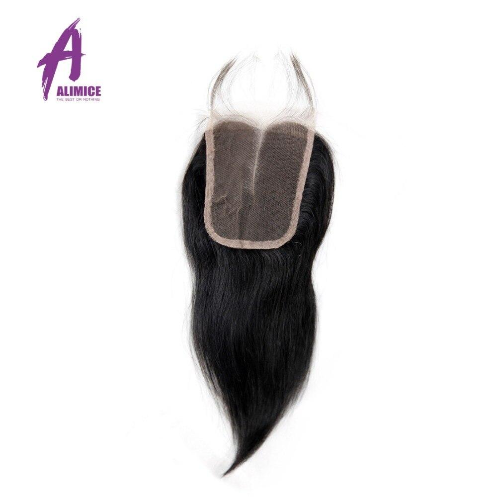 Alimice индийские волосы прямые волосы Синтетическое закрытие шнурка волос 4x4 средняя часть Синтетическое закрытие волос с ребенком волос 100% ...