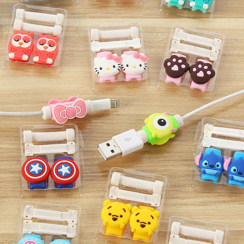 1 Cartoon 8 Pin Cable Protector de cabo USB Cable Winder Cover Case For IPhone 5 s SE 6 6s 6splus 7 7S plus cable Protect stitch