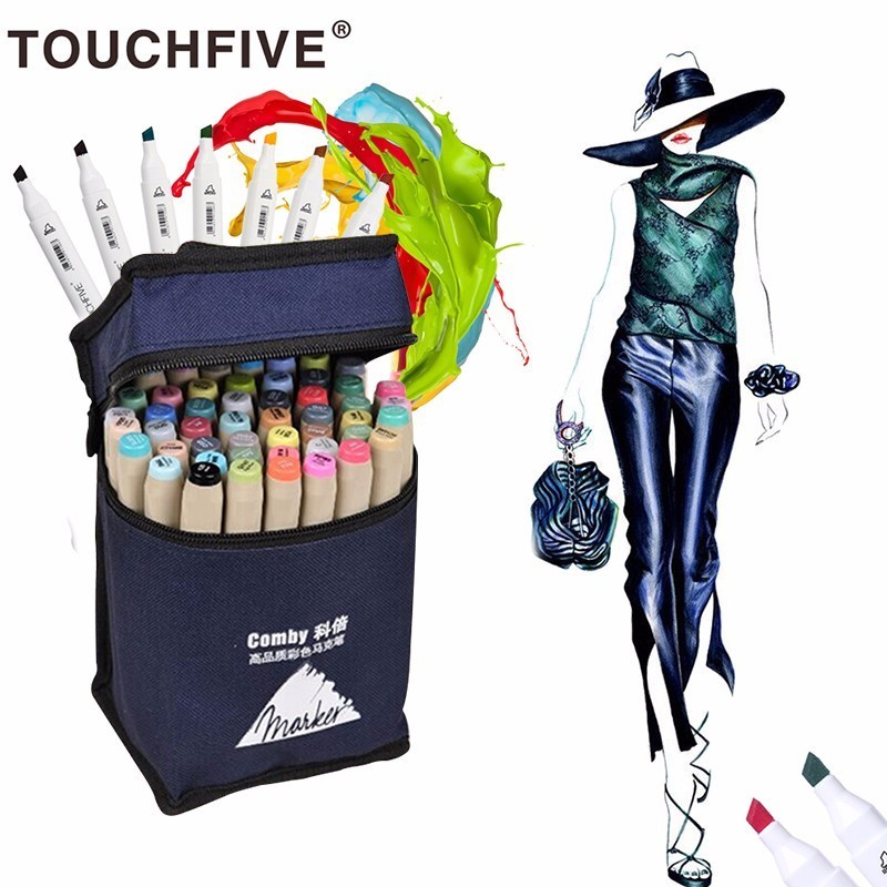 Touchfive 36/48/72/80 Colors Art Marker Set Dual Head Sketch Markers Brush Pen For Draw Manga Animation Design Art Supplies sketch marker pen 218 colors dual head sketch markers set for school student drawing posters design art supplies
