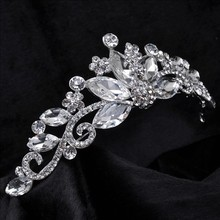 Envío gratis flor de la corona nupcial tiara Nupcial de La Boda de lujo cristalina Hairbands Partido Joyería Prom por mayor 1045
