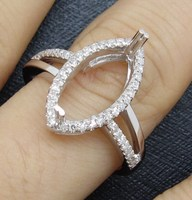 7x14mm Marquise Solid 14k White Gold Natural Diamond Semi Mount Ring Amazing New