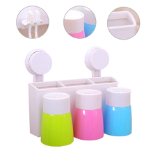New Creative Dust-proof Plastic Suction Cup Toothbrush Holder For Bathroom Accessories Wall Stand Three Pieces Set Banheiro