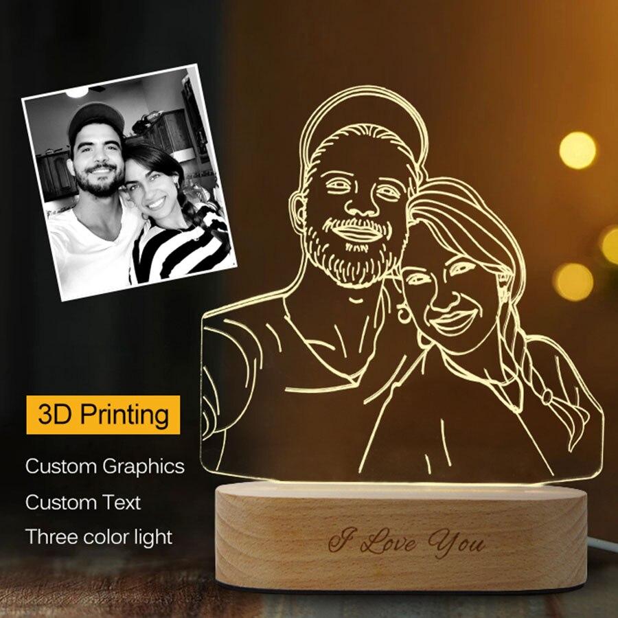 dropshipping personalizado 3d luz da noite 3 cores usb foto texto personalizado diy lampadas para o