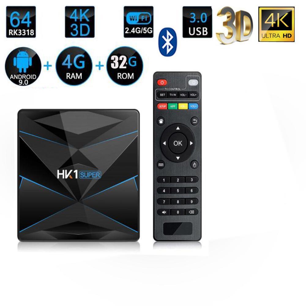 10 pièces HK1 Super Android 9.0 Boîte de télévision RK3318 2G/16G 4GB 32G 64 128 GO 2.4G/5G WiFi Double BT4.0 4K H.265 médias
