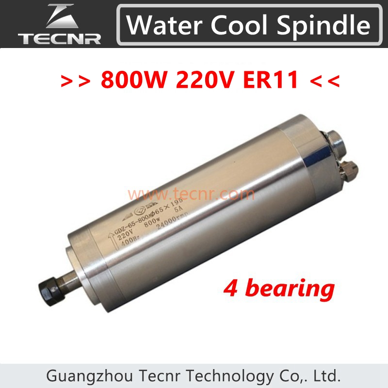 4 bearing 800W water cooling cnc water cooled spindle motor 220V ER11 with 65*195MM length for cnc router cnc 2 2kw water cooled er20 germany four bearing bearing spindle motor engraving milling grind