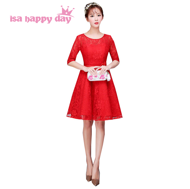 2017 new fashion ladies bride red lace applique sleeve short prom ...