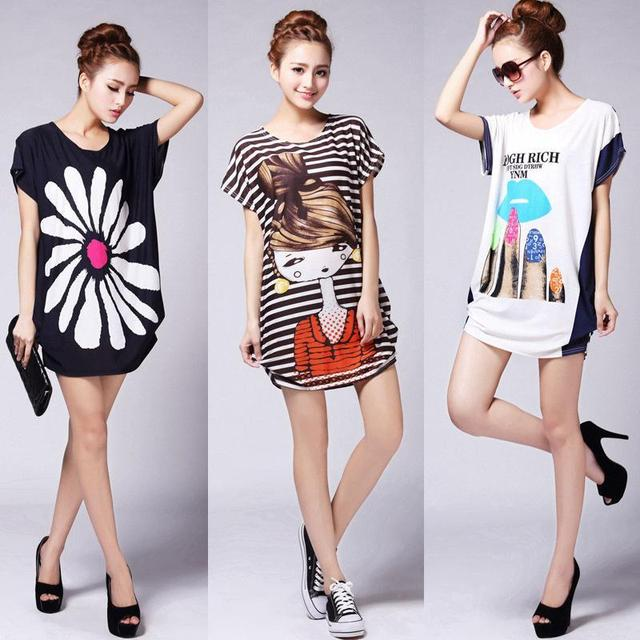 2015 plus size printed short batwing sleeve retro t shirts causal cute cotton tops for ladies Free Shipping
