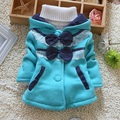 Retail 1 Pcs Children Outerwear Winter Spring New 2016 Girls Jackets Coats Dot Bow Hooded Baby Girl Jacket  fit 0-3 years