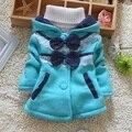Retail 1 Unids Niños Prendas de Abrigo de Invierno Nueva Primavera 2016 Chicas Arco de Punto Con Capucha chaquetas Abrigos Chaqueta Del Bebé encaja 0-3 años