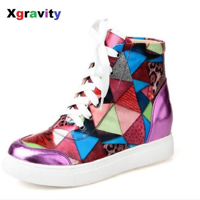 Xgravity Unique Design Colorful Rainbow Heel Increasing Lady Shoes Fashion  Genuine Leather Short Wedge Woman Ankle Shoes C252 adb3d90ff