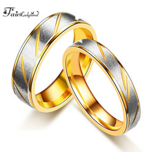 FairLadyHood  Fashion Simple Gold Color Couple Flowers Striped Stainless Steel Men And Women Wedding Ring