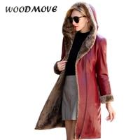 Winter Women Fashion Long Wool Genuine leather Coat Zipper Hoodies Fur Female Coat Real SheepSkin women Leather clothing