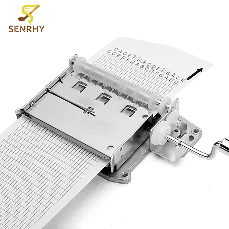 Senrhy DIY Hand Punch Music Box Movement Sleeve Punch Paper Tape Added to the Hole Plus Player to Create their Own Song Melody diy 15 tones hand cranked music box movement with hole puncher and paper tape