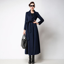 2017 Winter Long Woolen Jackets Women s Plus Size Solid Color Slim Simple Suits Collar With