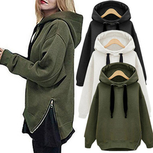 Winter women Army Green Thick Long Hoodie with a hat Female Loose Vintage Bottom Zipper Split Tops women's Long Sexy tracksuits