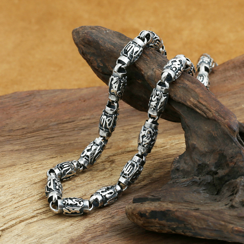 Real Heavy 925 Sterling Silver Chain Necklace Men Vintage Punk Six Words Carving 8mm Cylindrical Buddhism Jewelry-in Chain Necklaces from Jewelry & Accessories    2