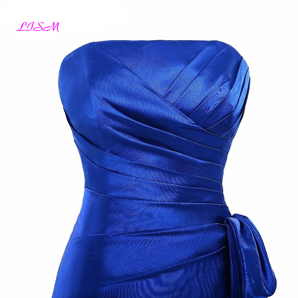 Royal Blue Strapless Short Bridesmaid Dresses Ruffles Knee Length Prom Gowns 2019 Real Photo Custom Made Wedding Guest Dress in Bridesmaid Dresses from Weddings Events