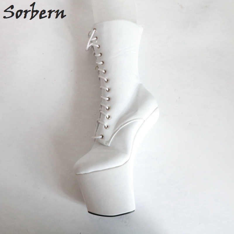 2c0b59d0cba ... Sorbern White Light Hoof Heelless Boots For Women Lace Up Front Bdsm Female  Boots White Boots ...